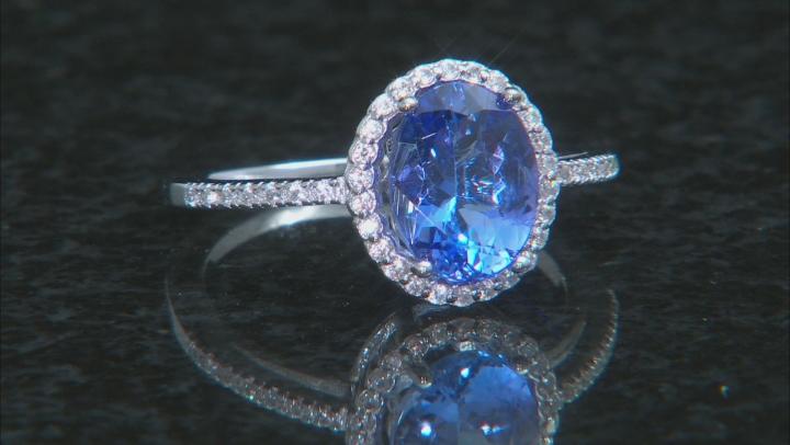 Blue Tanzanite Rhodium Over Silver Ring 1.80ctw