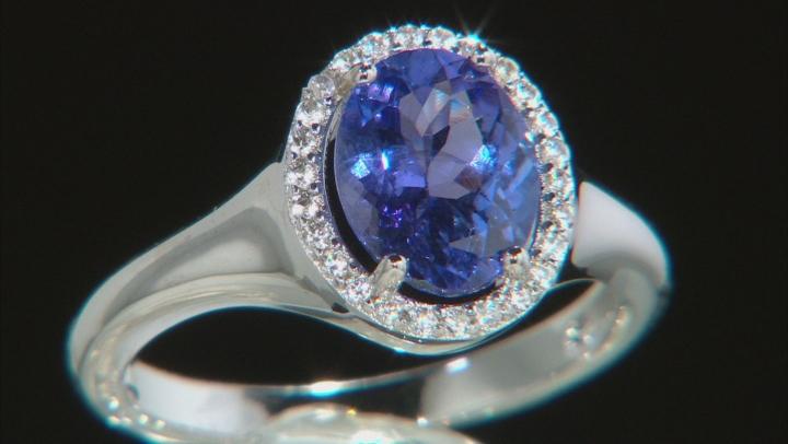 Blue Tanzanite Rhodium Over Silver Ring 1.75ctw
