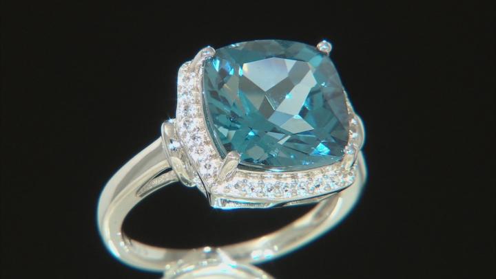 Blue Topaz Rhodium Over Silver Ring 7.30ctw