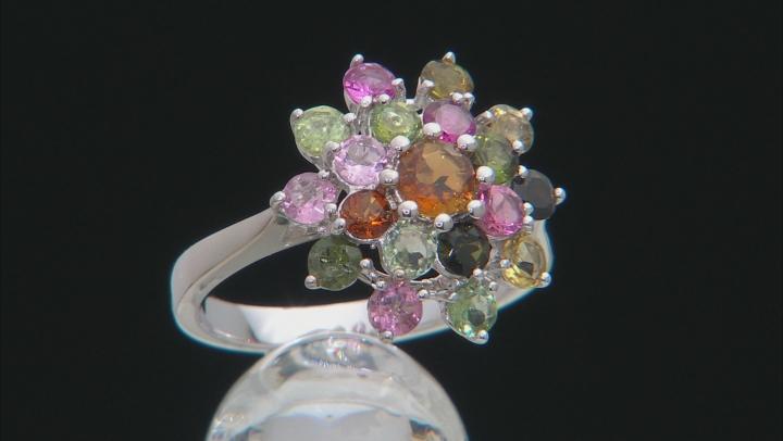 Multi-Color Tourmaline Rhodium Over Silver Ring 2.60ctw
