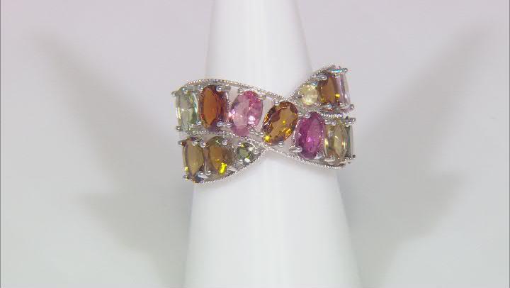 Multi-Color Tourmaline Rhodium Over Silver Ring 4.30ctw