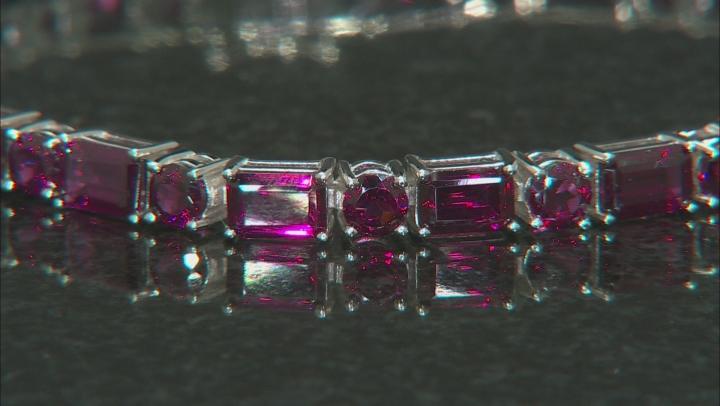 Purple Raspberry Color Rhodolite Rhodium Over Silver Bracelet 16.20ctw
