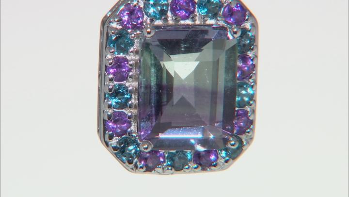 Bi-Color Fluorite Rhodium Over Sterling Silver Pendant with Chain 3.65ctw