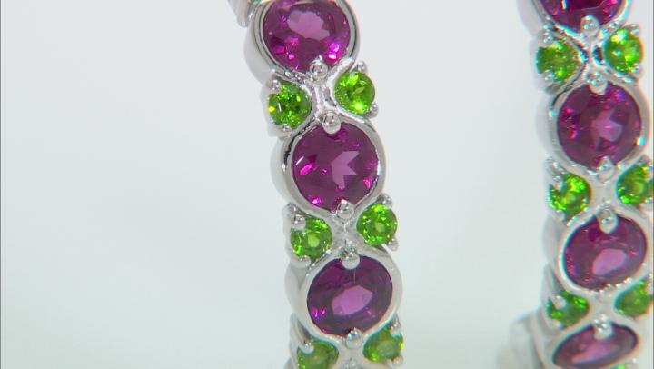 Purple Rhodolite Rhodium Over Sterling Silver J-Hoop Earrings 3.10ctw