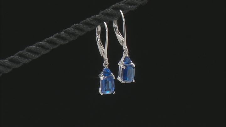 Blue Kyanite Rhodium Over Silver Earrings 2.50ctw