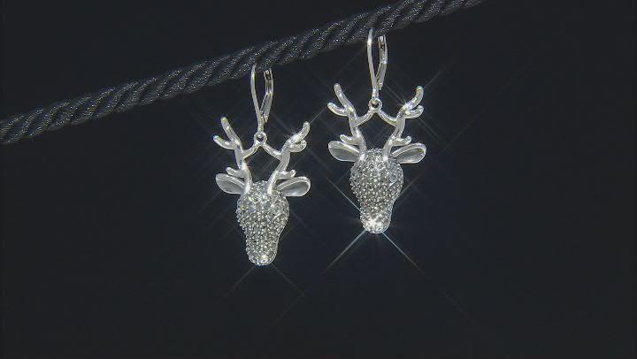 Swiss blue topaz sterling silver reindeer face dangle earrings .05ctw