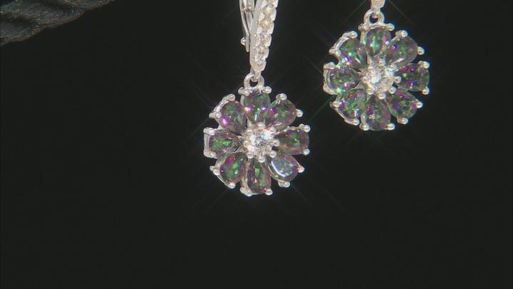 Multi-color quartz rhodium over silver dangle earrings 2.69ctw