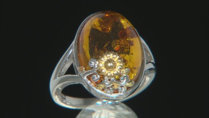 Orange Amber Rhodium Over Silver With 18k Gold Enhanced Sunflower Detail Ring