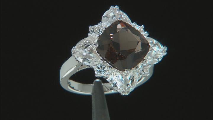Brown smoky quartz rhodium over sterling silver ring 6.77ctw