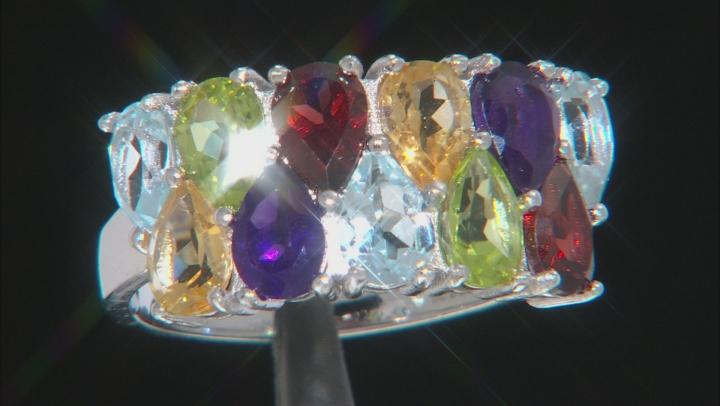 Multi-Gemstone Rhodium Over Sterling Silver Ring 4.64ctw