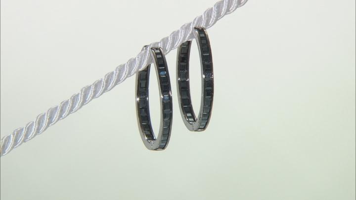 Black Spinel Rhodium Over Sterling Silver Hoop Earrings 3.00ctw