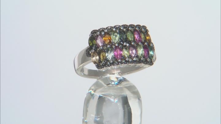 Multi-Color Tourmaline Rhodium Over Silver Ring 1.07ctw
