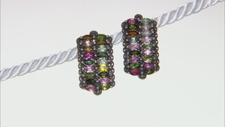 Multi-Color Tourmaline Rhodium Over Silver Earrings 2.14ctw