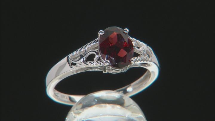 Red garnet rhodium over sterling silver ring 1.22ct
