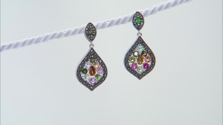 Multi-Color Tourmaline Rhodium Over Silver Earrings 2.48ctw