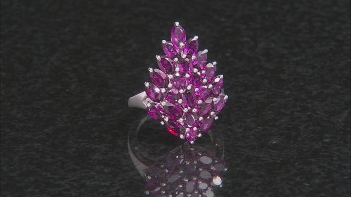 Purple Rhodolite Rhodium Over Sterling Silver Ring 4.67ctw