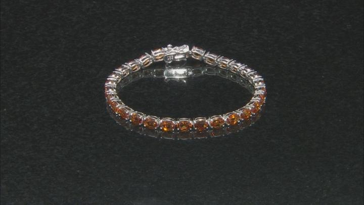 Orange citrine rhodium over sterling silver tennis bracelet 11.52ctw