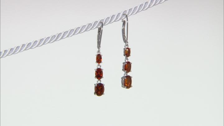 Orange madeira citrine rhodium over silver dangle earrings 2.35ctw