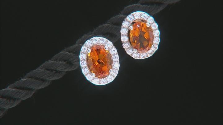 Orange Madeira Citrine Rhodium Over Silver Earrings  1.84ctw