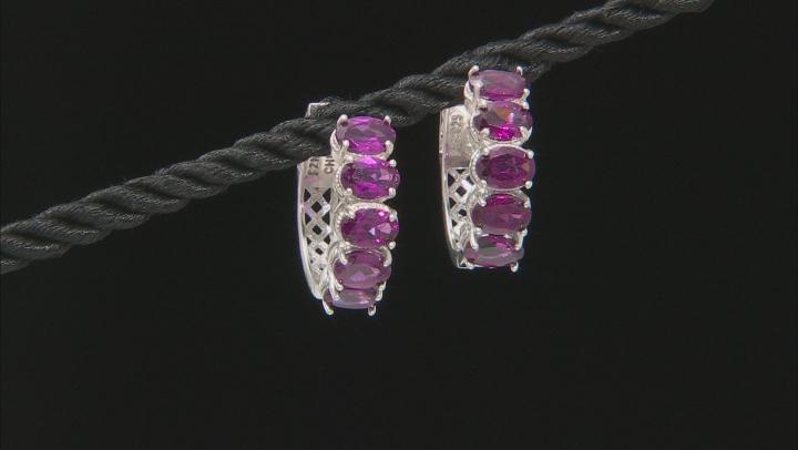 Purple Rhodolite Rhodium Over Sterling silver Hoop Earrings 5.90ctw
