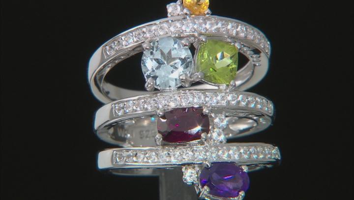 Multi-Gemstone Rhodium Over Silver Ring 3.38ctw