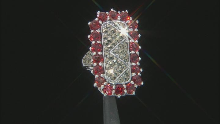 Vermelho Garnet™ Rhodium Over Sterling Silver Ring 5.36ctw