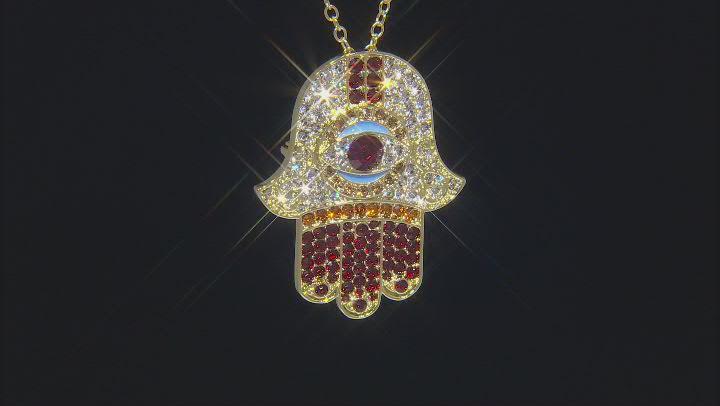 "Multi Color Crystal Gold Tone Hamsa Hand Pin/Pendant with 18"" Chain"