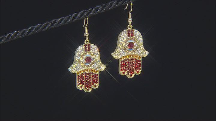 Multi color Crystal Gold Tone Hamsa Dangle Earrings