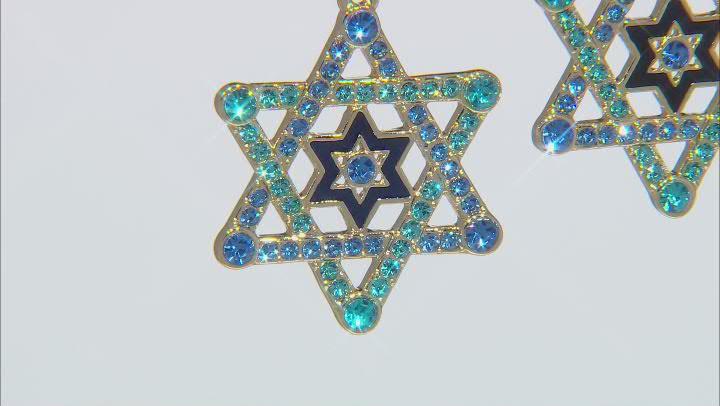 Gold Tone Multi Color Crystal Star of David Earrings