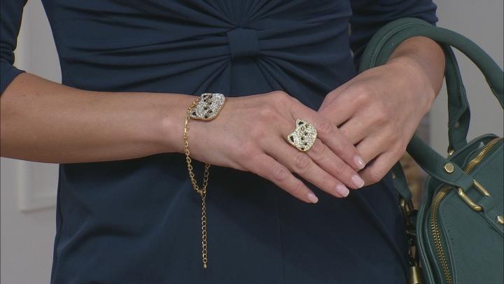 Gold Tone Crystal Cat Charm Bracelet