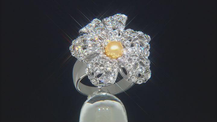 Silver Tone Swarovski Elements ™ Crystal and Pearl Simulant Ring