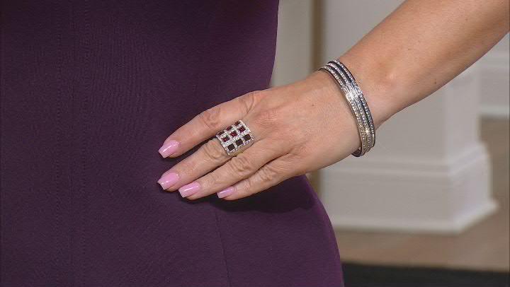White Crystal Multi Tone Set of 3 Bangle Bracelets