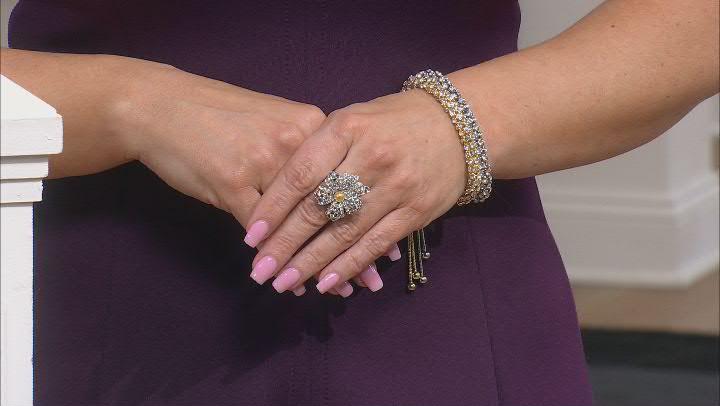 Gold Tone Crystal Bolo Bracelet