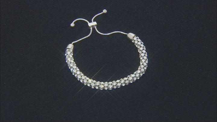 Silver Tone Crystal Bolo Bracelet