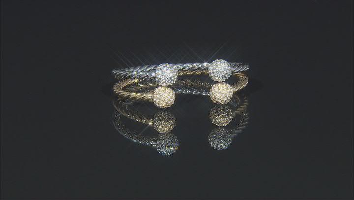 Silver Tone Pave Crystal Cuff Bracelet
