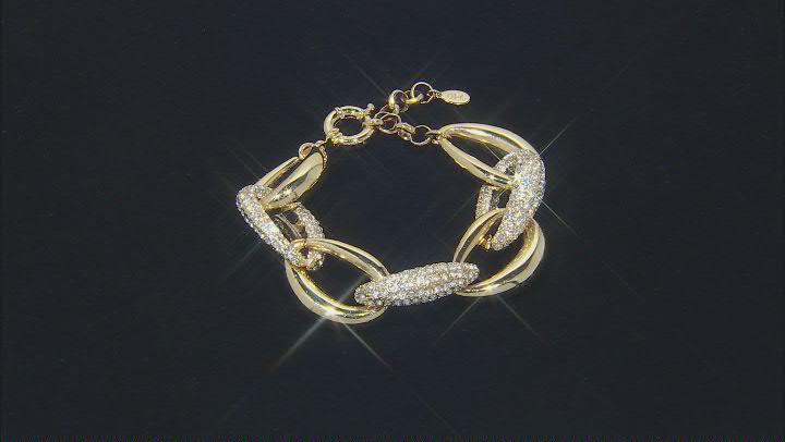 Gold Tone Pave Crystal Link Bracelet