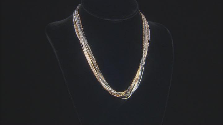 Tri Colored Layered Chain Necklace