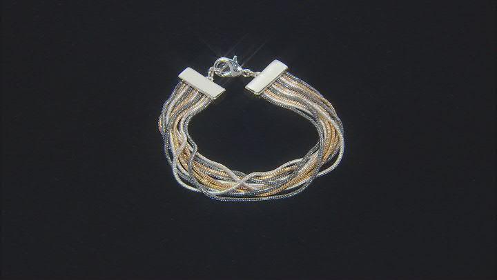 Tri Colored Layered Chain Multi Row Bracelet