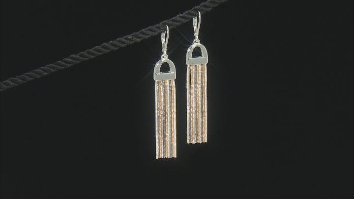 Tri Colored Layered Chain Dangle Earrings