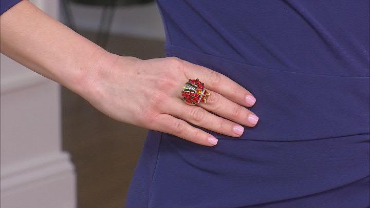 Antique Bronze Tone Multi Color Crystal Ladybug Ring