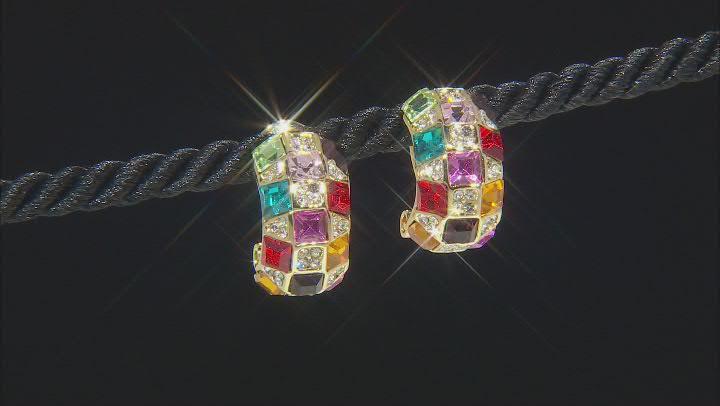 Gold Tone Multi Color Crystal Earrings