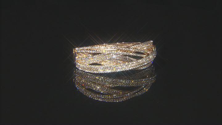 White Crystal Gold Tone Cross Over Bracelet