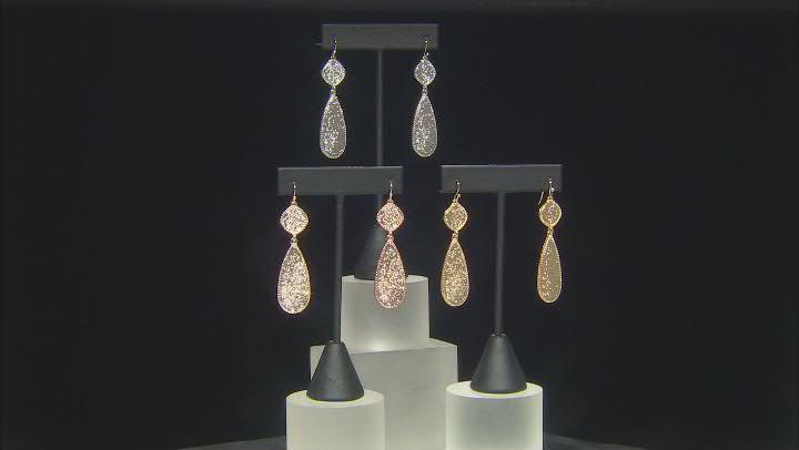 Gold, Silver, Rose Tone Glitter Set of 3 Dangle Earrings