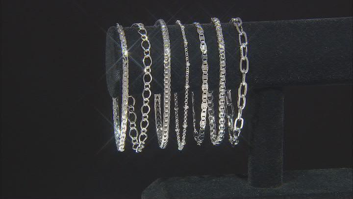 Silver Tone 14 Piece Jewelry Roll Chain Set