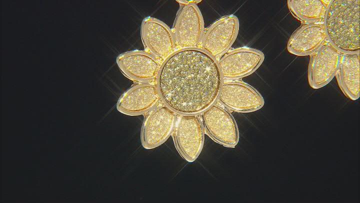 Gold Tone Sunflower Shimmer Hoop Earrings