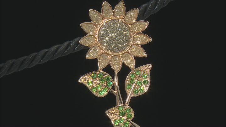 Gold Tone Green Crystals Sunflower Shimmer Brooch
