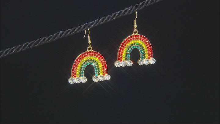 Gold Tone, Multi Color Crystal Rainbow Dangle Earrings