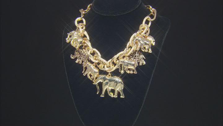 Gold Tone Elephant Charm Necklace