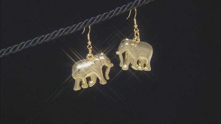 Gold Tone Elephant Dangle Earrings