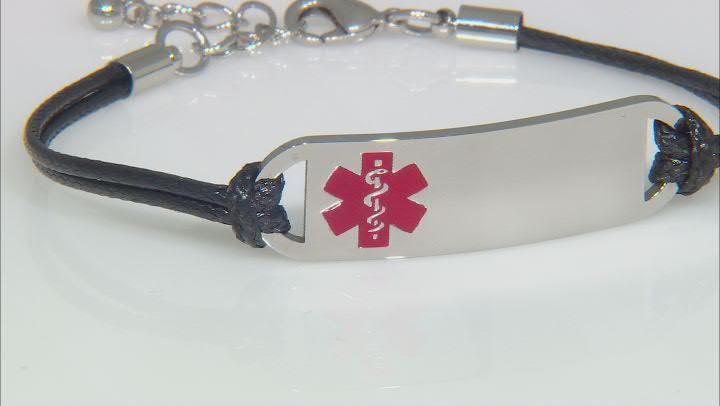 Silver Tone, Medical Alert Black Cord Bracelet